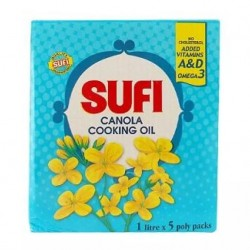 Sufi Canola Cooking Oil 1 Ltr x 5 Poly Packs
