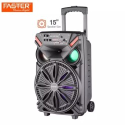 FASTER FS-15C Fortune Series Portable Subwoofer 15-inch Trolley Outdoor Bluetooth Speaker With Mic