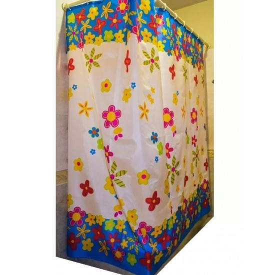 Flower Print White And Blue Shower Curtain - SC04