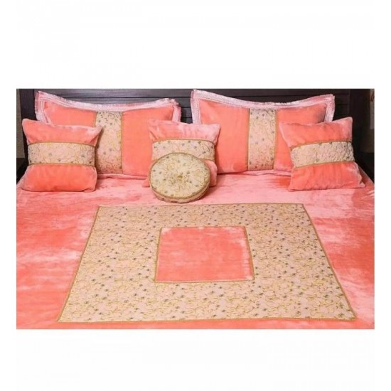 Pink Velvet Embroidered Double Bed Cover Set
