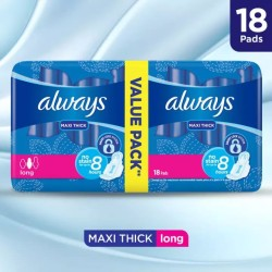 Always Thicks Maxi Sanitary Pads, Long, Value Pack, 18 pads