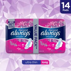 Always Diamonds Ultra Thin Sanitary Pads, Long, Value Pack, 14 pads