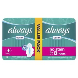 Always Diamonds Ultra Thin Sanitary Pads, Long, Value Pack, 16 Pads