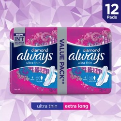 Always Diamonds Ultra Thin Sanitary Pads, Extra Long, Value Pack, 12 pads