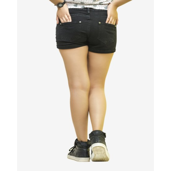 Black Sexy Stretch Shorts For Women