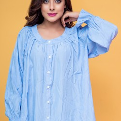 Womens Button down Loose Billowy Blouse - Blue