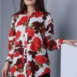 Womens Floral Loose Button Down Top - Red