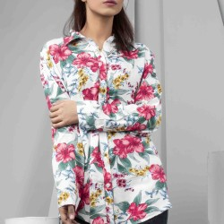 Womens Floral Loose Button Down Top - Pink