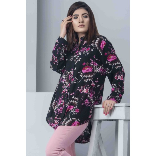 Womens Floral Loose Button Down Top - Black