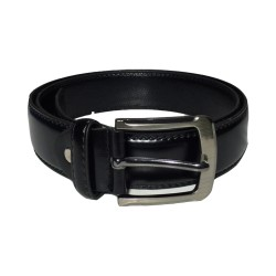 Black Leather Belt with Anti-Scratch Pin Buckle,Great for Jeans,Casual,Cowboy & Work Wear