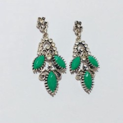 FANCY STYLISH GREEN AND WHITE ZIRCON STONE LEAVES EARINGS DROP STYLE