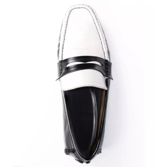 Black & White Leather Loafer Shoes For Men