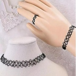 Black Choker & Braclate & Ring Set for Women