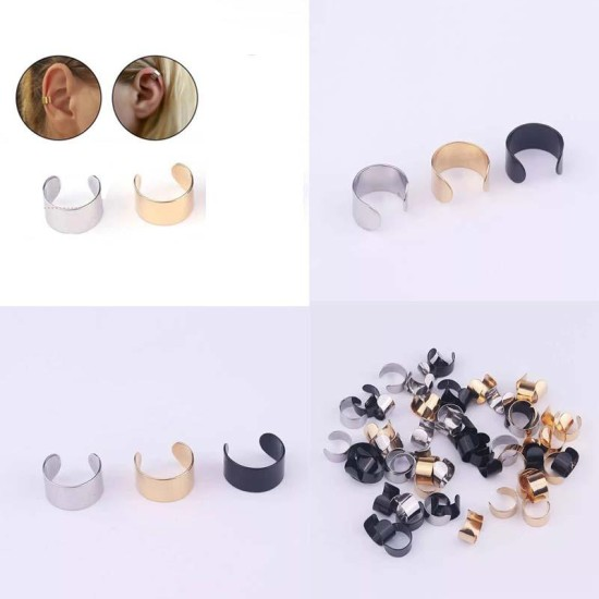 Pack Of 2 Pairs Stainless Steel Smooth Wide No Piercing Cartilage Cuff Earring