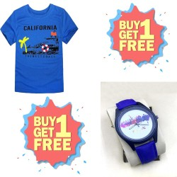 Buy One Printed T-Shirt & Get One Free Printed Watch For Boys