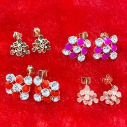 3 Pc Set Animated Stud Flower Earrings Patch