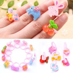 12 pcs Baby Girls& Mixed styles Cartoon Animal vegetables and fruit Lovely Candy Color Plastic Rings