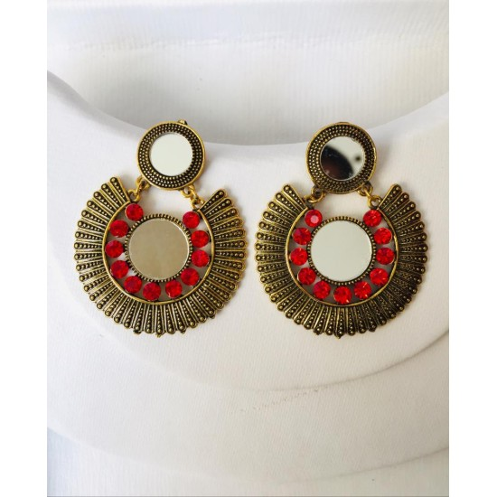 NEW FASHION ANTIQUE MIRROR EAR RINGS FOR GIRLS