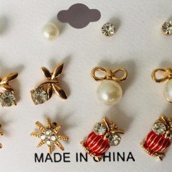 6 PC SET FUNKY STUD EARRINGS PATCH FOR GIRLS