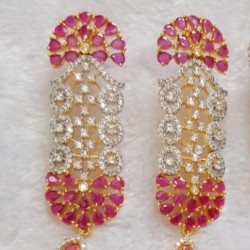 American Diamonds Earrings with Golden white Zircon, Ruby,champagne,and sapphire color,