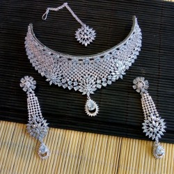 Indian Silver Plated Wedding Diamond and white zircon Necklace Set Bridal Jewelry