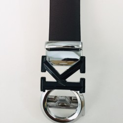 Black Leather & Auto Lock Buckle Belt For Men