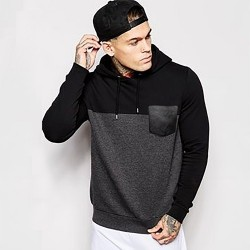 hoodie leather patch pocket Jacket For Men
