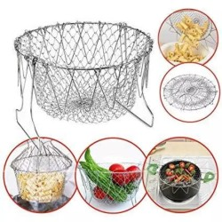 Foldable Stainless Steel Filter Steam Rinse Strainer Collapsible Colander Mesh Basket Kitchen Sieve Fry