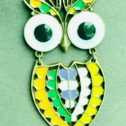 Korean Style Colored Owl Long Chain Pendant Necklace BRONZE
