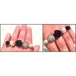 Bronze Punk Crystal Pearsl With Flowers 3 Fingers Ring