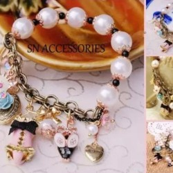Bj Mix Salsa Charm With Pearls Bracelet
