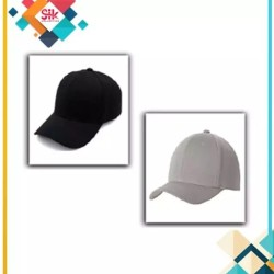 Pack Of 2 - Black & Grey Cotton Baseball Cap