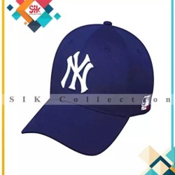 Navy Blue Cotton Ny Baseball Adjustable Cap For Men