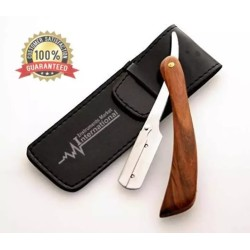 Barber straight cut throat shaving razor with wooden handle for men  With free pouch