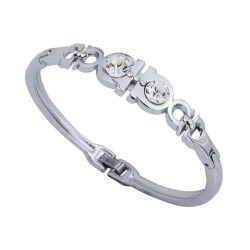 High Quality Silver Plated Alloy Bangle Rhinestone Bracelet