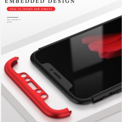 Apple iPhone 10 Shockproof 3 in 1 Full Body 360 Protection Case Cover - Black And Red
