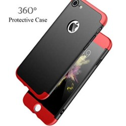 Apple iPhone 8 Shockproof 3 in 1 Full Body 360 Protection Case Cover - Black And Red